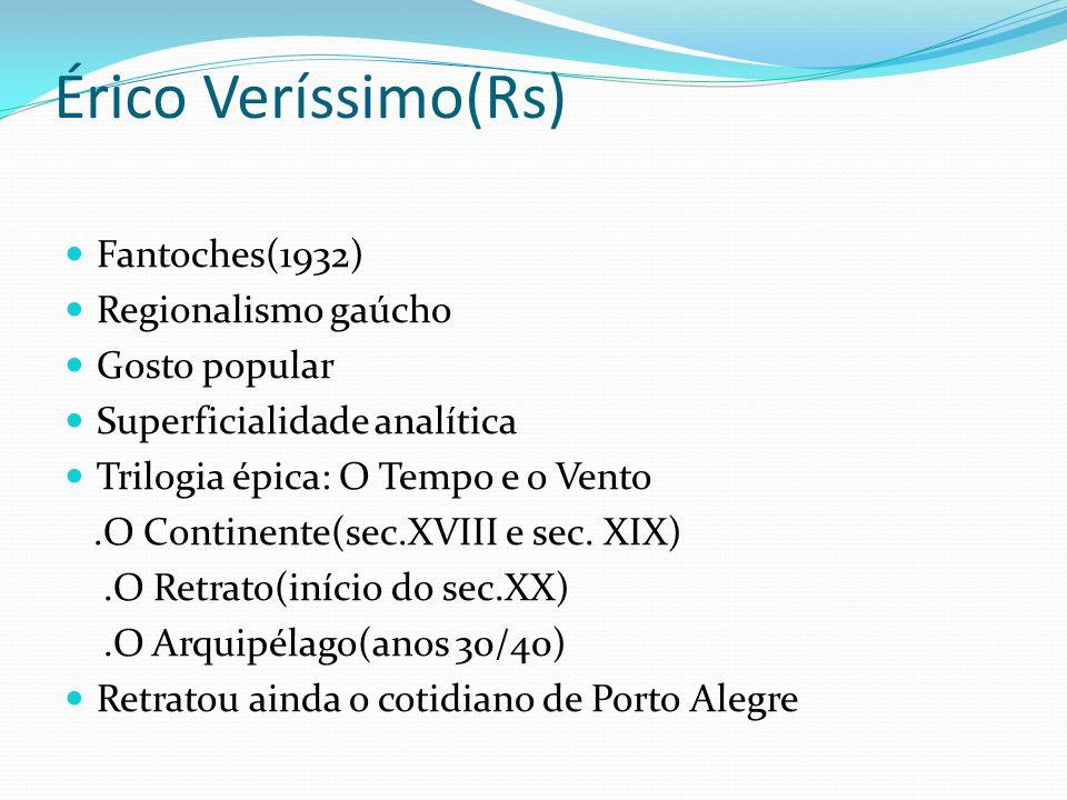 Érico Veríssimo(Rs) Fantoches(1932) Regionalismo gaúcho Gosto popular Superficialidade analítica Trilogia épica: O Tempo e o Vento.O Continente(sec.XV