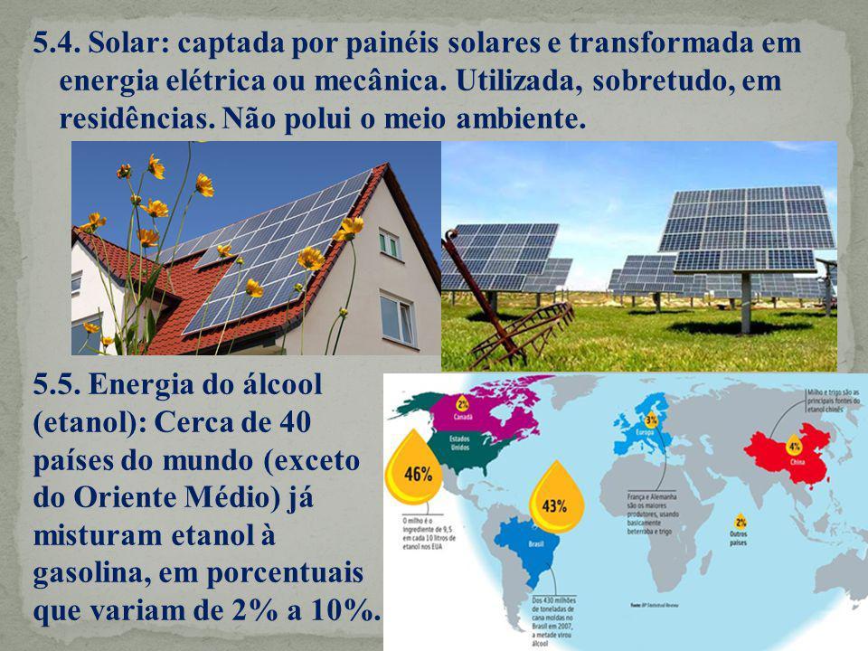 5.4. Solar: captada por painéis solares e transformada em energia elétrica ou mecânica. Utilizada, sobretudo, em residências. Não polui o meio ambient