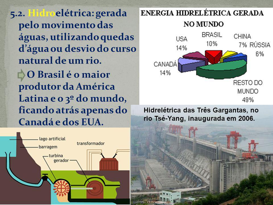 5.2. Hidroelétrica: gerada pelo movimento das águas, utilizando quedas dágua ou desvio do curso natural de um rio. O Brasil é o maior produtor da Amér