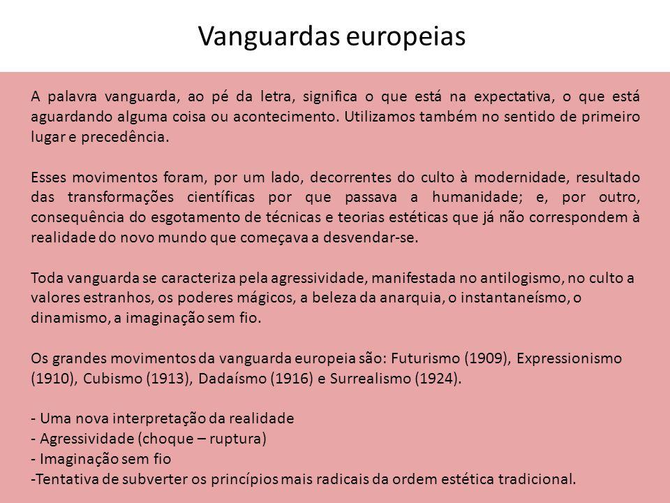 Vanguardas europeias A palavra vanguarda, ao pé da letra, significa o que está na expectativa, o que está aguardando alguma coisa ou acontecimento. Ut