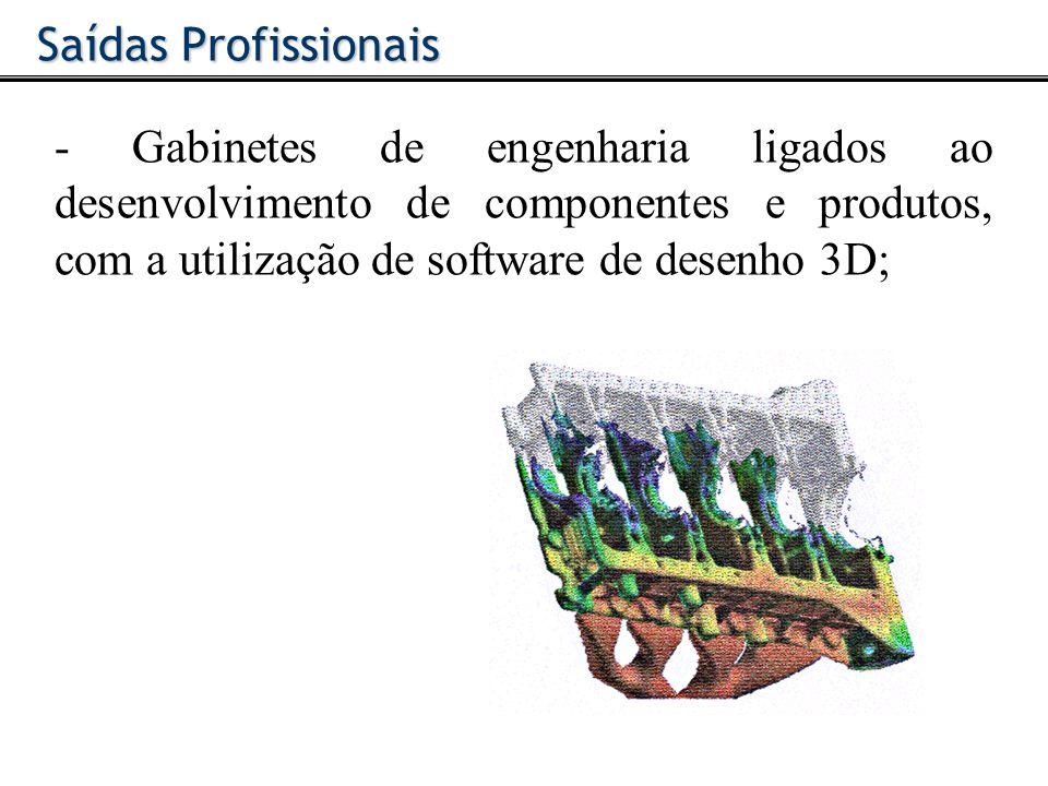 - Gabinetes de engenharia ligados ao desenvolvimento de componentes e produtos, com a utilização de software de desenho 3D; Saídas Profissionais