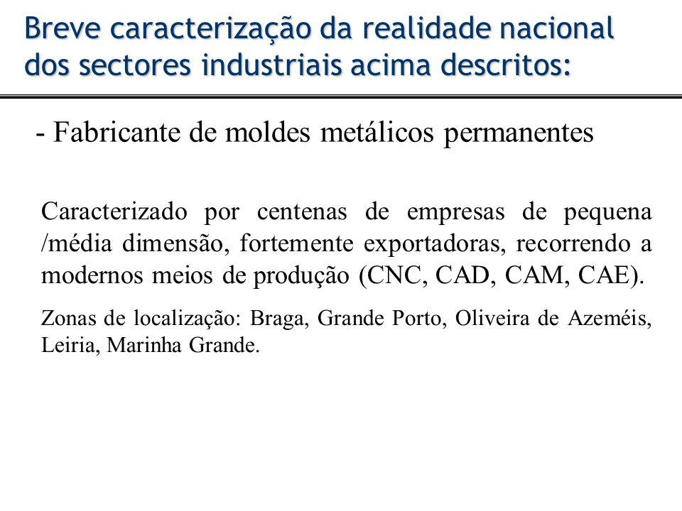 - Fabricante de moldes metálicos permanentes Breve caracterização da realidade nacional dos sectores industriais acima descritos: Caracterizado por ce