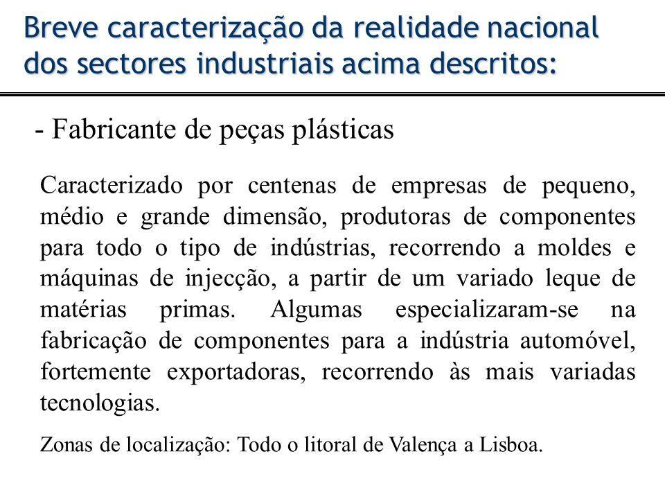 - Fabricante de peças plásticas Breve caracterização da realidade nacional dos sectores industriais acima descritos: Caracterizado por centenas de emp