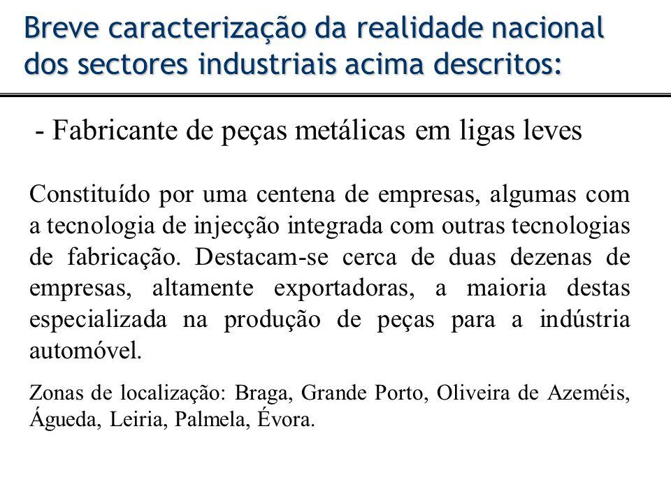 - Fabricante de peças metálicas em ligas leves Breve caracterização da realidade nacional dos sectores industriais acima descritos: Constituído por um