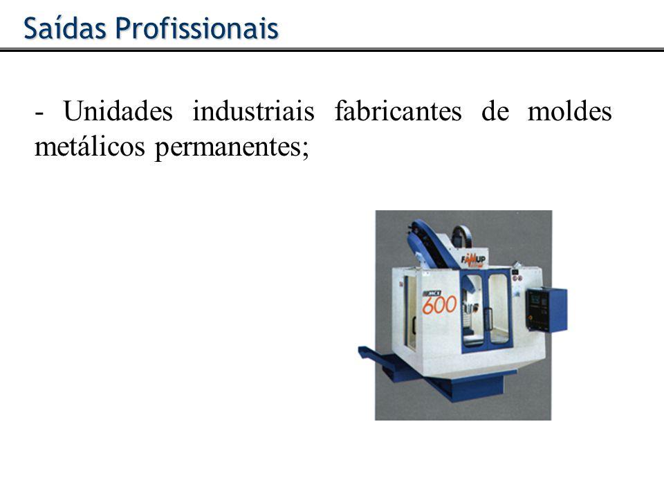 - Unidades industriais que se dedicam à produção de peças plásticas; Saídas Profissionais
