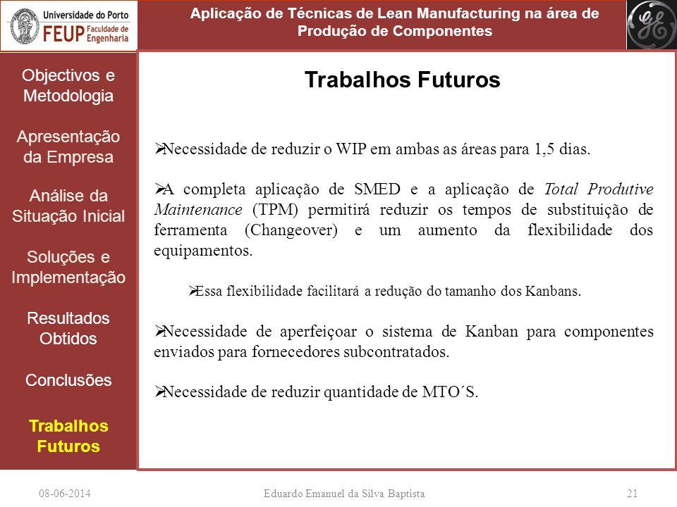 08-06-2014Eduardo Emanuel da Silva Baptista 21 Objectivos e Metodologia Apresentação da Empresa Análise da Situação Inicial Soluções e Implementação Resultados Obtidos Conclusões Trabalhos Futuros Necessidade de reduzir o WIP em ambas as áreas para 1,5 dias.