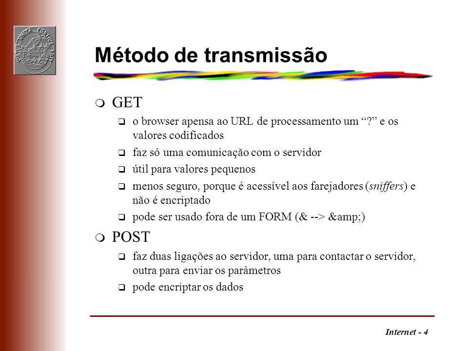 Internet - 4 Método de transmissão m GET q o browser apensa ao URL de processamento um ? e os valores codificados q faz só uma comunicação com o servi