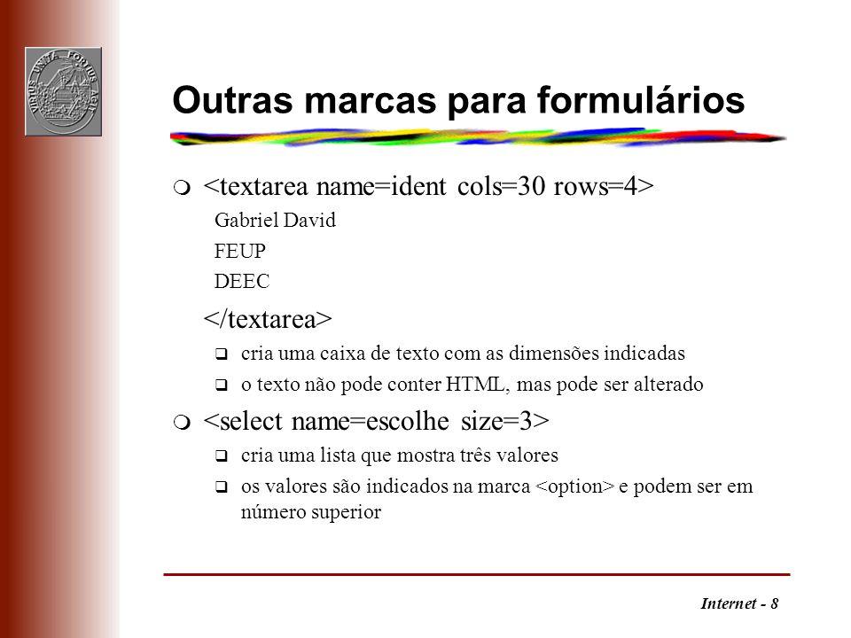Internet - 8 Outras marcas para formulários m Gabriel David FEUP DEEC q cria uma caixa de texto com as dimensões indicadas q o texto não pode conter H