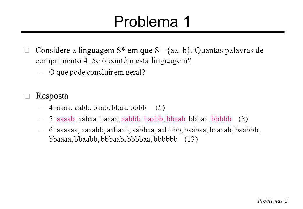 Problemas-2 Problema 1 Considere a linguagem S* em que S= {aa, b}.