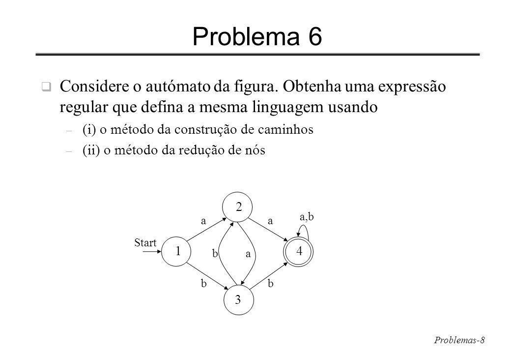Problemas-9 Problema 6 (cont.) R ij (k) = R ij (k-1) + R ik (k-1) (R kk (k-1) )* R kj (k-1) R 11 (0) R 12 (0) a R 13 (0) b R 14 (0) R 21 (0) R 22 (0) R 23 (0) a R 24 (0) a Start 2 a 3 b 4 a,b 1 a ab b R 31 (0) R 32 (0) b R 33 (0) R 34 (0) b R 41 (0) R 42 (0) R 43 (0) R 44 (0) +a+b R 11 (1) R 12 (1 ) a R 13 (1 ) b R 14 (1 ) R 21 (1 ) R 22 (1 ) R 23 (1 ) a R 24 (1 ) a R 12 (1) =a+ ( )*a = a R 31 (1) R 32 (1) b R 33 (1) R 34 (1) b R 41 (1) R 42 (1) R 43 (1) R 44 (1) + a+b