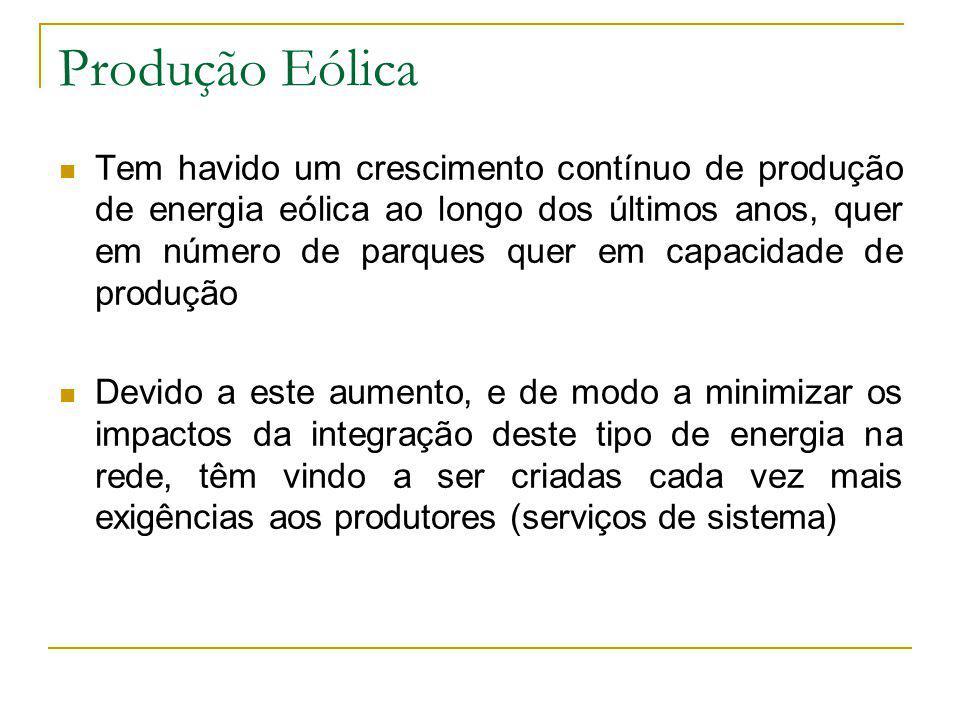 Produção Eólica Tem havido um crescimento contínuo de produção de energia eólica ao longo dos últimos anos, quer em número de parques quer em capacida
