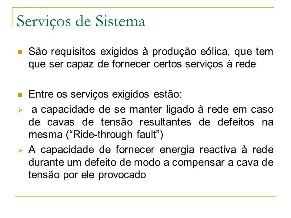 Serviços de Sistema São requisitos exigidos à produção eólica, que tem que ser capaz de fornecer certos serviços à rede Entre os serviços exigidos est