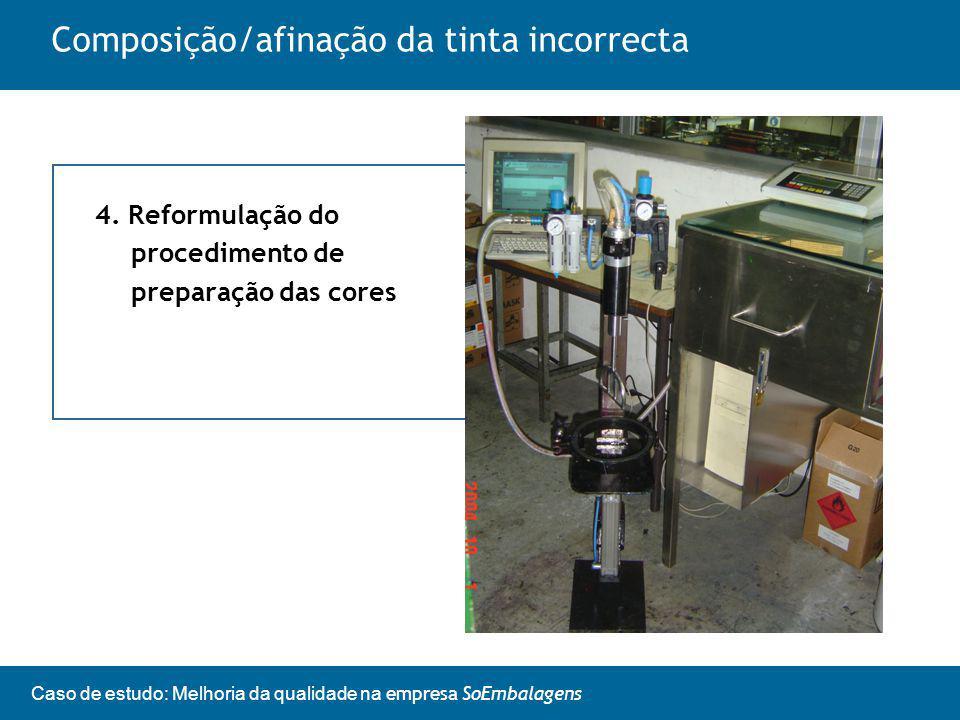 Caso de estudo: Melhoria da qualidade na empresa SoEmbalagens Composição/afinação da tinta incorrecta 4.