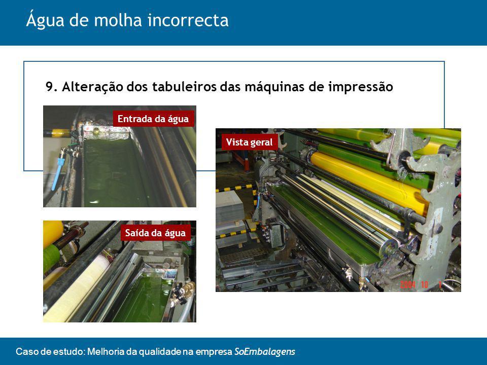 Caso de estudo: Melhoria da qualidade na empresa SoEmbalagens Água de molha incorrecta 9.
