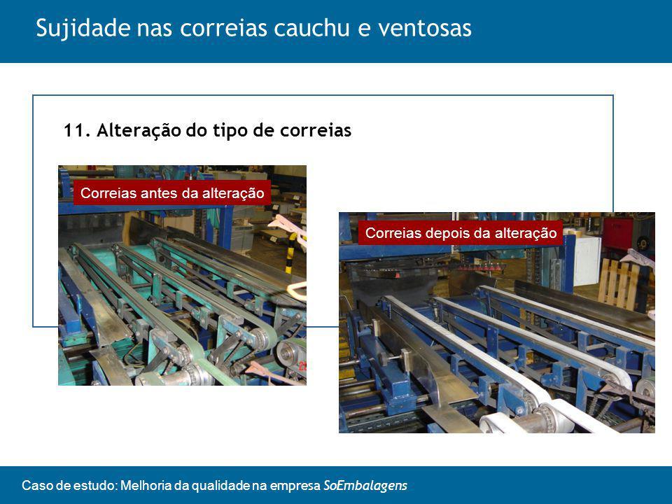 Caso de estudo: Melhoria da qualidade na empresa SoEmbalagens Sujidade nas correias cauchu e ventosas 11.