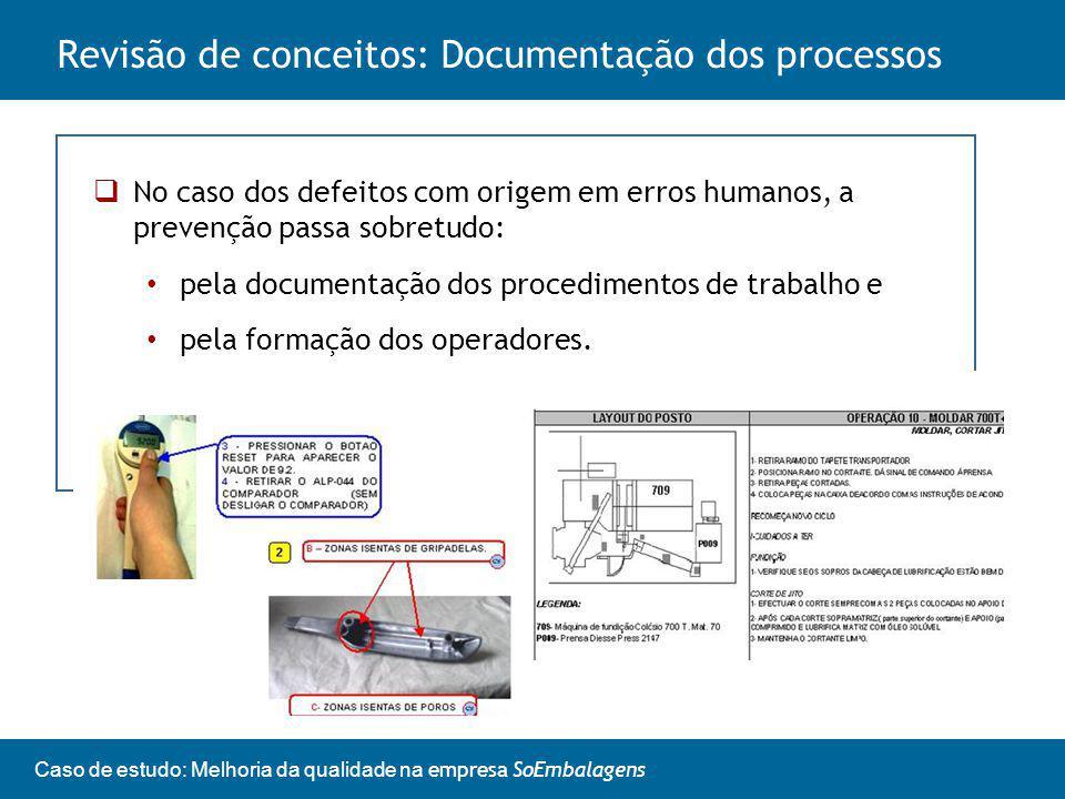 Caso de estudo: Melhoria da qualidade na empresa SoEmbalagens No caso dos defeitos com origem em erros humanos, a prevenção passa sobretudo: pela documentação dos procedimentos de trabalho e pela formação dos operadores.