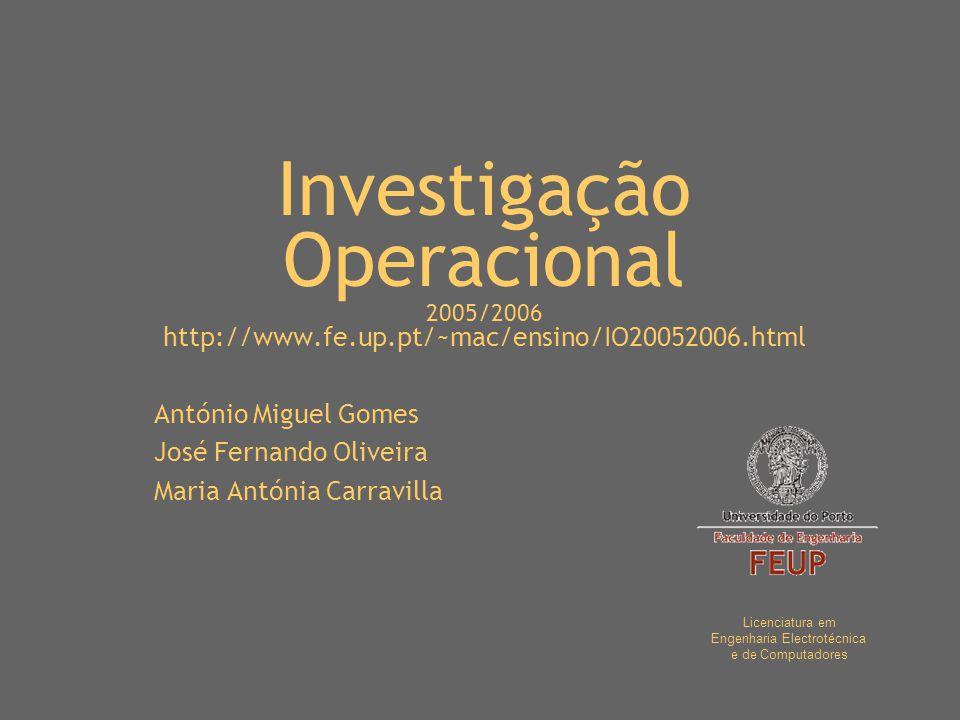 Investigação Operacional 2005/2006 http://www.fe.up.pt/~mac/ensino/IO20052006.html António Miguel Gomes José Fernando Oliveira Maria Antónia Carravill