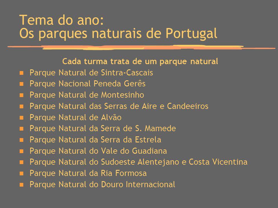 Tema do ano: Os parques naturais de Portugal Cada turma trata de um parque natural Parque Natural de Sintra-Cascais Parque Nacional Peneda Gerês Parqu