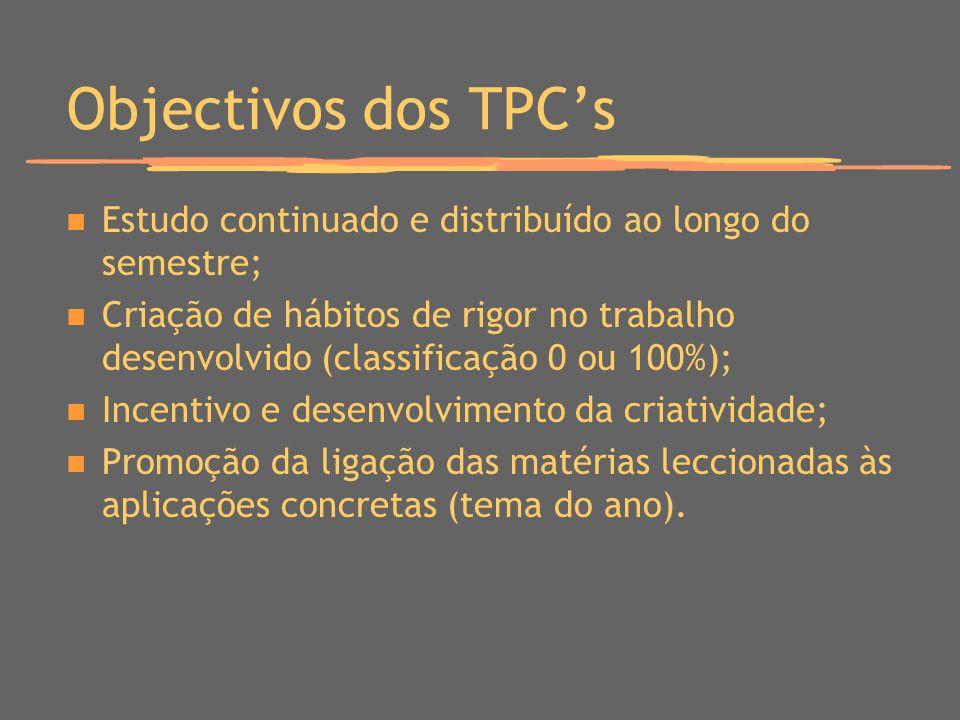 Objectivos dos TPCs Estudo continuado e distribuído ao longo do semestre; Criação de hábitos de rigor no trabalho desenvolvido (classificação 0 ou 100