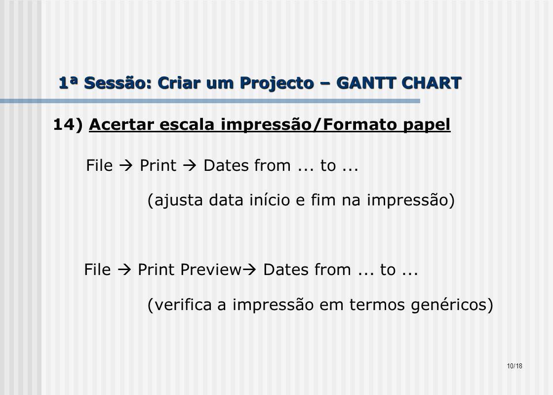 1ª Sessão: Criar um Projecto – GANTT CHART 14) Acertar escala impressão/Formato papel File Print Dates from...