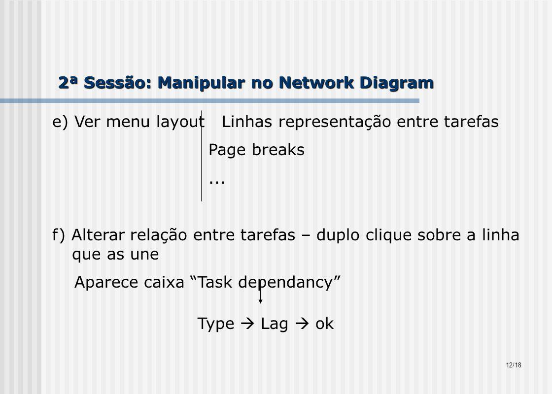 2ª Sessão: Manipular no Network Diagram e) Ver menu layout Linhas representação entre tarefas Page breaks...