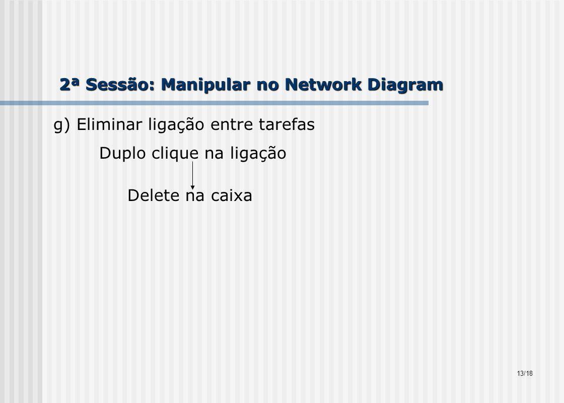 2ª Sessão: Manipular no Network Diagram g) Eliminar ligação entre tarefas Duplo clique na ligação Delete na caixa 13/18
