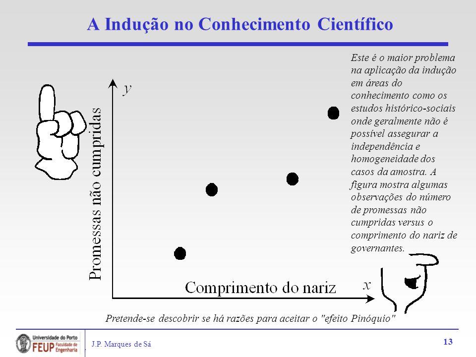 J.P. Marques de Sá 13 A Indução no Conhecimento Científico Este é o maior problema na aplicação da indução em áreas do conhecimento como os estudos hi