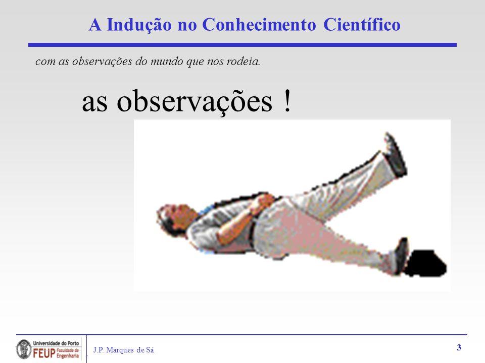 J.P. Marques de Sá 3 A Indução no Conhecimento Científico as observações ! com as observações do mundo que nos rodeia.