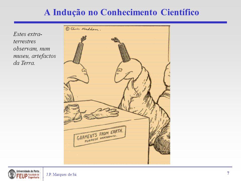 J.P. Marques de Sá 7 A Indução no Conhecimento Científico Estes extra- terrestres observam, num museu, artefactos da Terra.