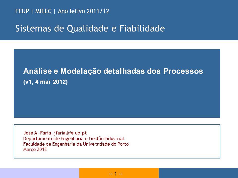 -- 1 -- FEUP | MIEEC | Ano letivo 2011/12 Sistemas de Qualidade e Fiabilidade Análise e Modelação detalhadas dos Processos (v1, 4 mar 2012) José A. Fa