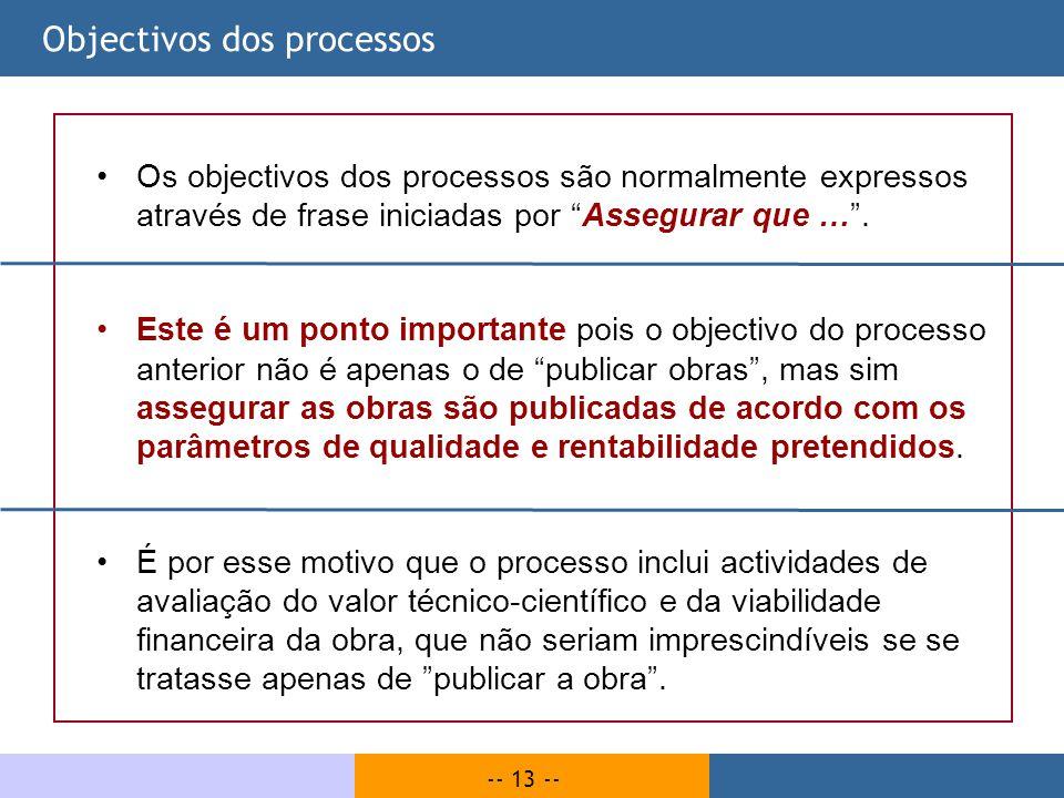 -- 13 -- Objectivos dos processos Os objectivos dos processos são normalmente expressos através de frase iniciadas por Assegurar que …. Este é um pont