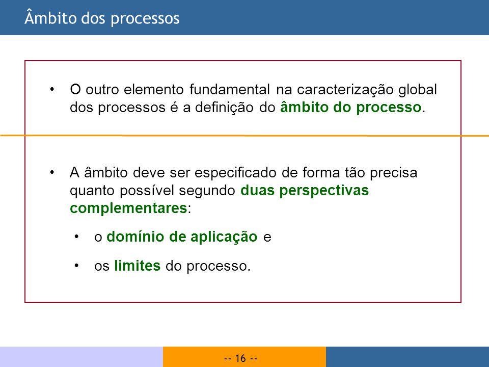 -- 16 -- Âmbito dos processos O outro elemento fundamental na caracterização global dos processos é a definição do âmbito do processo. A âmbito deve s