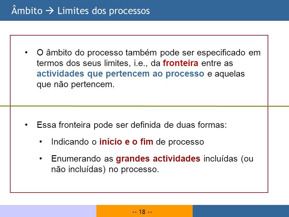 -- 18 -- Âmbito Limites dos processos O âmbito do processo também pode ser especificado em termos dos seus limites, i.e., da fronteira entre as activi