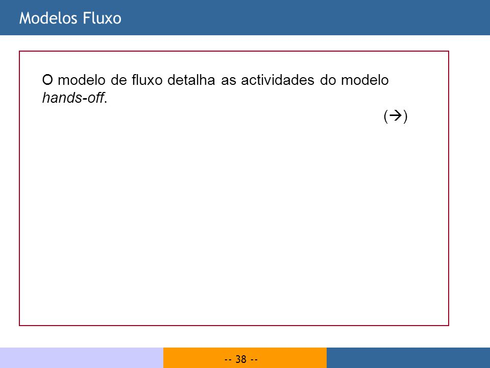 -- 38 -- Modelos Fluxo O modelo de fluxo detalha as actividades do modelo hands-off. ( )