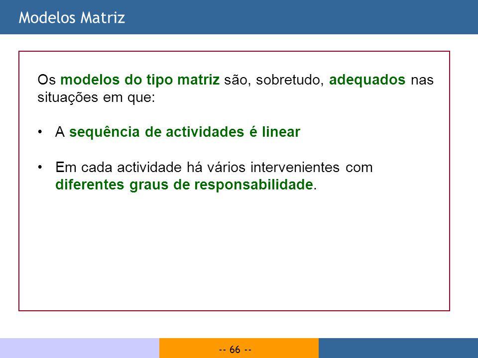 -- 66 -- Modelos Matriz Os modelos do tipo matriz são, sobretudo, adequados nas situações em que: A sequência de actividades é linear Em cada activida