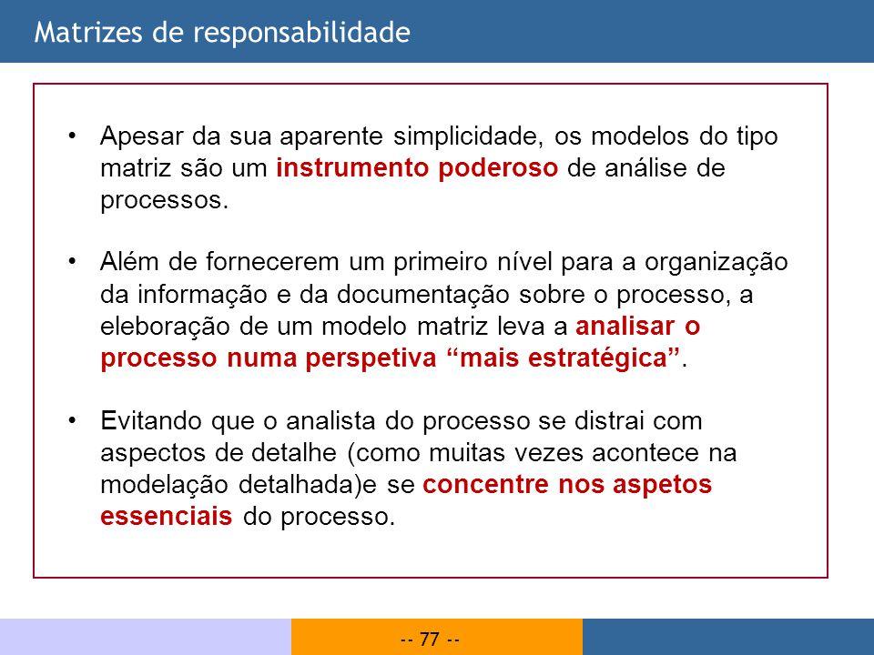 -- 77 -- Matrizes de responsabilidade Apesar da sua aparente simplicidade, os modelos do tipo matriz são um instrumento poderoso de análise de process