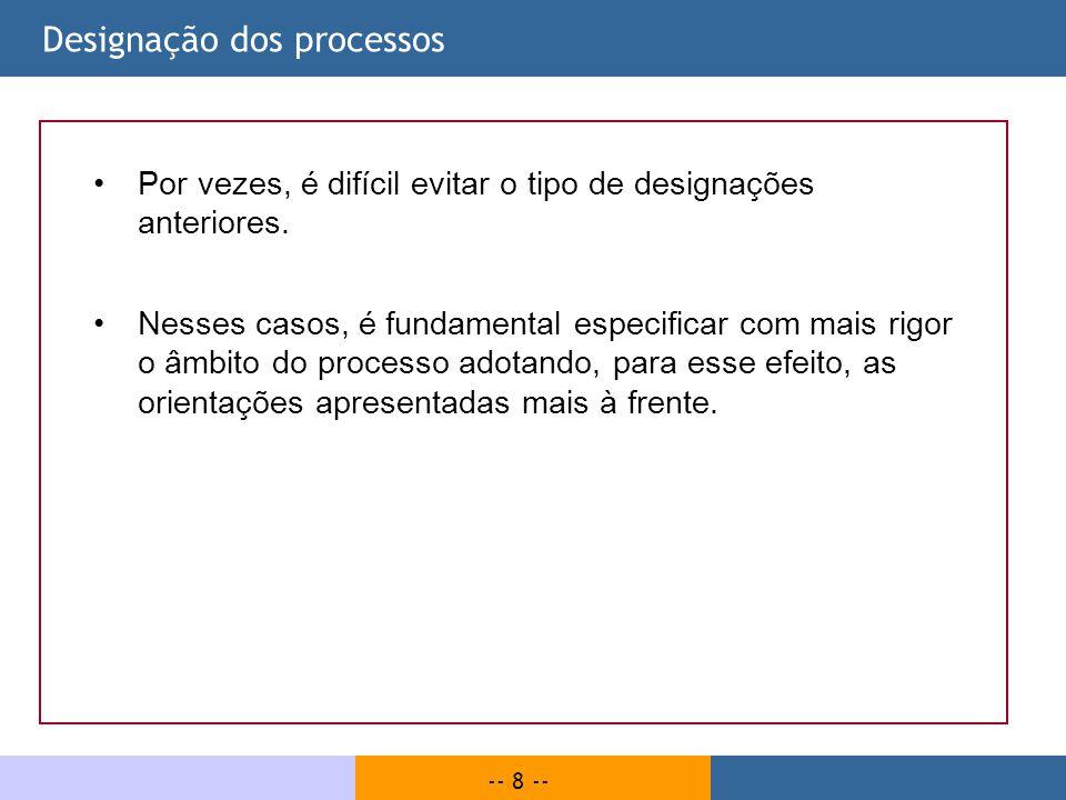 -- 9 -- Objectivos dos processos | Exemplo Os objectivos do processo especificam aquilo que se pretende alcançar ou garantir através do processo, como no exemplo seguinte relativo ao processo Publicar obra.