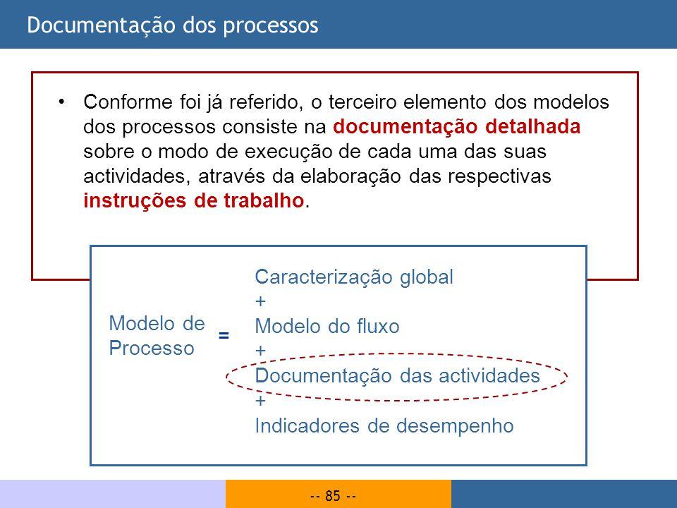 -- 85 -- Documentação dos processos Conforme foi já referido, o terceiro elemento dos modelos dos processos consiste na documentação detalhada sobre o