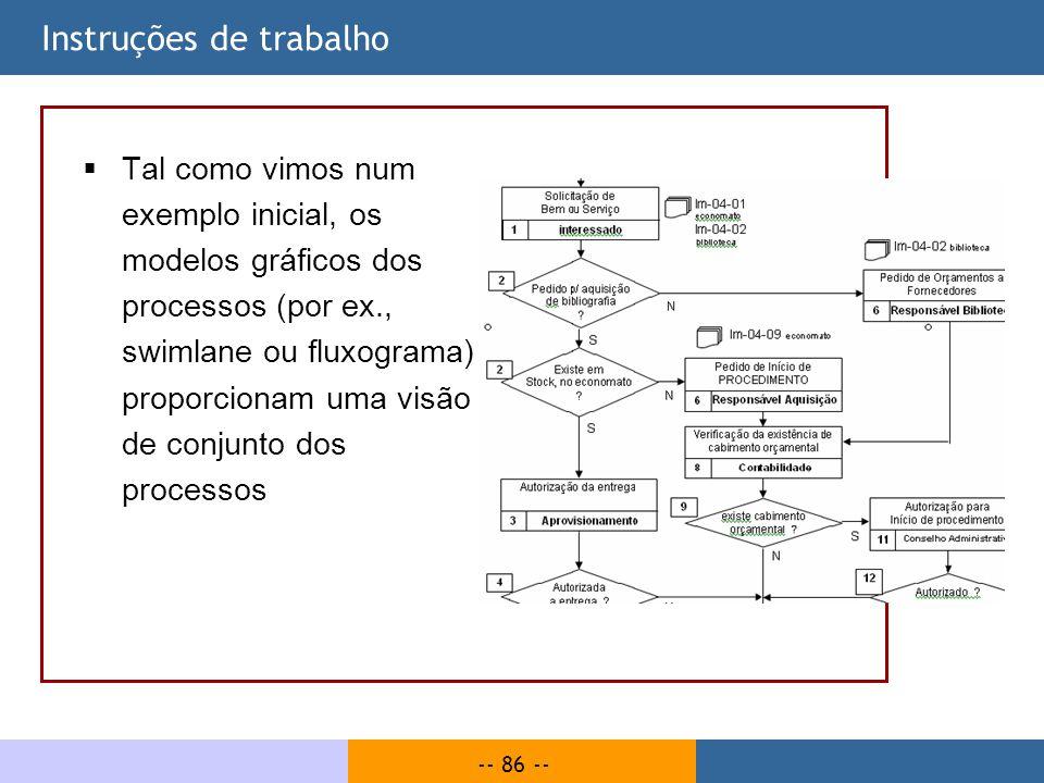 -- 86 -- Instruções de trabalho Tal como vimos num exemplo inicial, os modelos gráficos dos processos (por ex., swimlane ou fluxograma), proporcionam