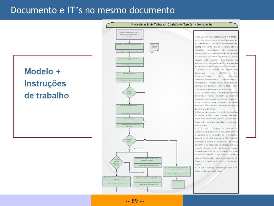 -- 89 -- Documento e ITs no mesmo documento Modelo + Instruções de trabalho