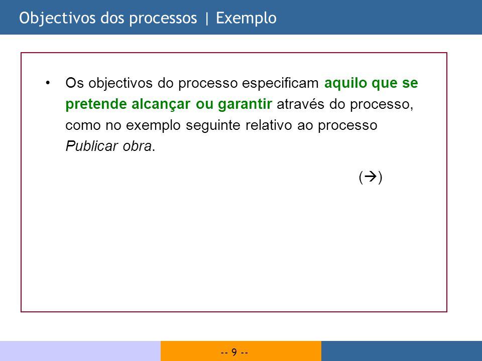 -- 9 -- Objectivos dos processos | Exemplo Os objectivos do processo especificam aquilo que se pretende alcançar ou garantir através do processo, como