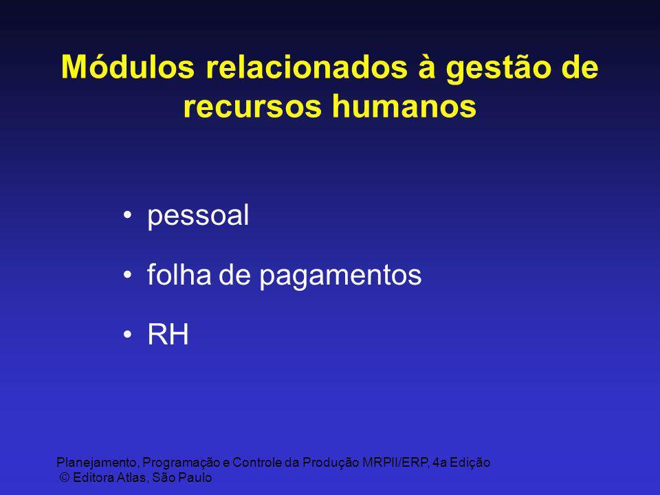 Planejamento, Programação e Controle da Produção MRPII/ERP, 4a Edição © Editora Atlas, São Paulo Módulos relacionados à gestão de recursos humanos pes