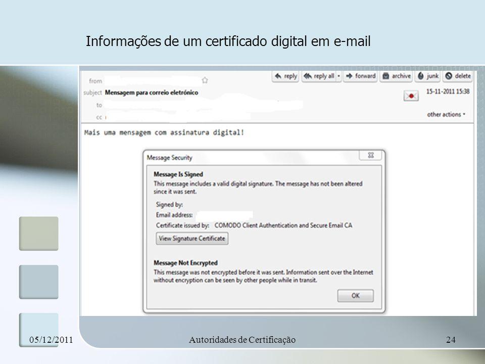 Informações de um certificado digital em e-mail 05/12/2011Autoridades de Certificação24