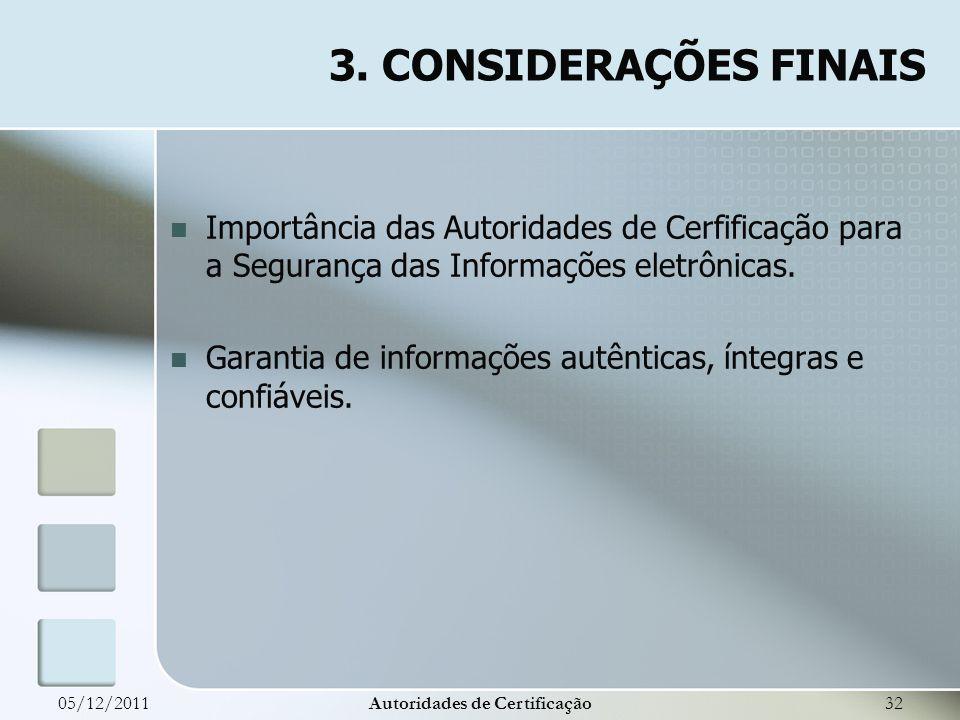 Importância das Autoridades de Cerfificação para a Segurança das Informações eletrônicas. Garantia de informações autênticas, íntegras e confiáveis. 0