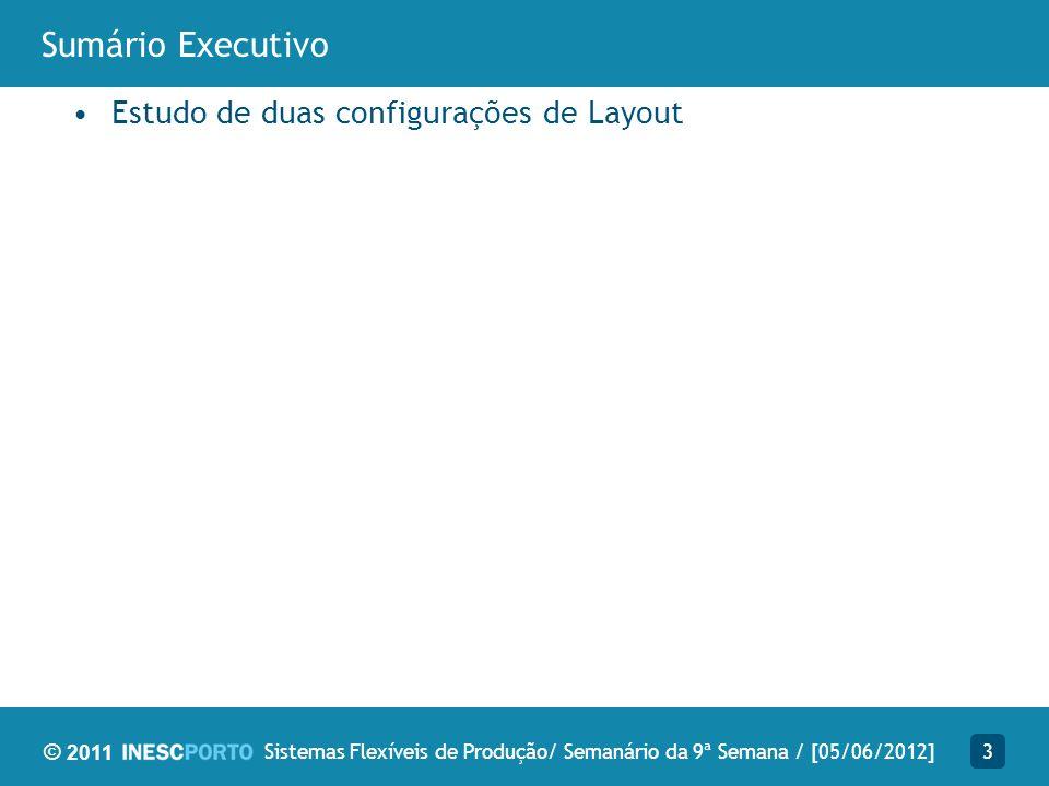 © 2011 Sumário Executivo Estudo de duas configurações de Layout 3Sistemas Flexíveis de Produção/ Semanário da 9ª Semana / [05/06/2012]