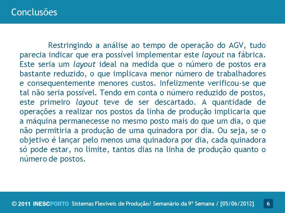 © 2011 Conclusões Restringindo a análise ao tempo de operação do AGV, tudo parecia indicar que era possível implementar este layout na fábrica. Este s