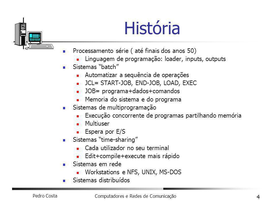 Pedro Costa Computadores e Redes de Comunicação 4 História Processamento série ( até finais dos anos 50) Linguagem de programação: loader, inputs, out