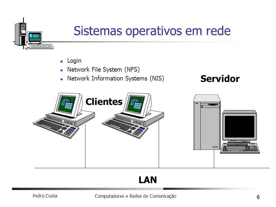 Pedro Costa Computadores e Redes de Comunicação 6 Sistemas operativos em rede Login Network File System (NFS) Network Information Systems (NIS) Servid