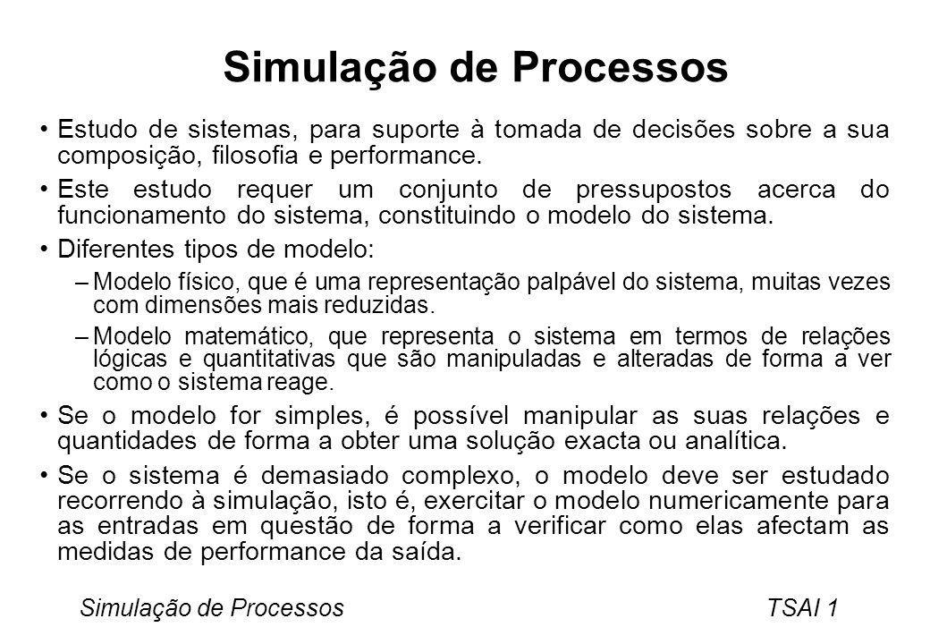 Simulação de Processos TSAI 2 Modelos de Simulação O objectivo dos modelos de simulação é imitar o comportamento do sistema ao longo do tempo através de um modelo capaz de: –Reproduzir a sucessão de estados pelos quais o sistema passa.