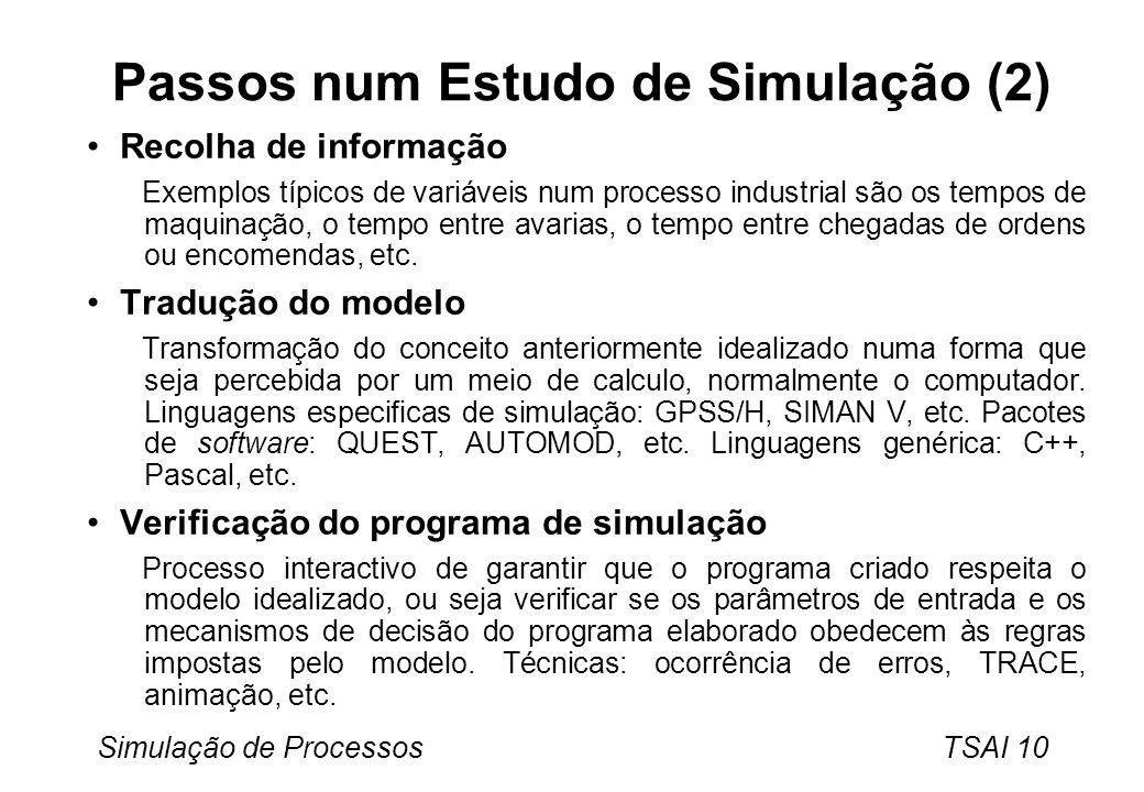 Simulação de Processos TSAI 10 Passos num Estudo de Simulação (2) Recolha de informação Exemplos típicos de variáveis num processo industrial são os tempos de maquinação, o tempo entre avarias, o tempo entre chegadas de ordens ou encomendas, etc.